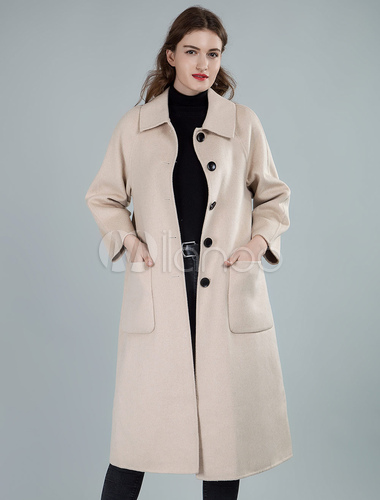 rencontrer 379fd 06307 Manteau long blanc crème avec col rabattu pour femme