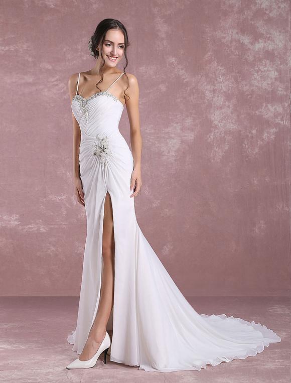50295cfa20 ... Summer Wedding Dresses 2019 Mermaid Beach Bridal Dress High Split  Sweetheart Beading Pleated Spaghetti Strap Bridal ...