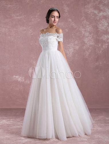 best service 0bcc8 318eb Prinzessin Hochzeitskleid aus der Schulter Tüll Brautkleid Elfenbein Spitze  bodenlangen Brautkleid