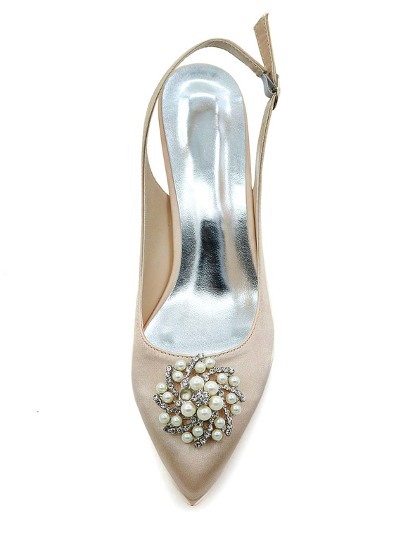 Scarpe Sposa 34.Champagne Wedding Shoes Pointed Toe Kitten Heel Rhinestones Pearls