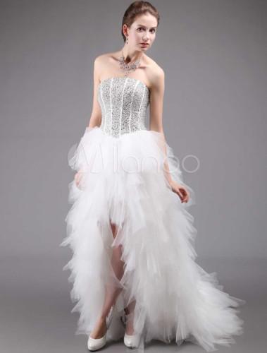 Fashion Strapless White Front Short Back Long Bridal Wedding Dress No4