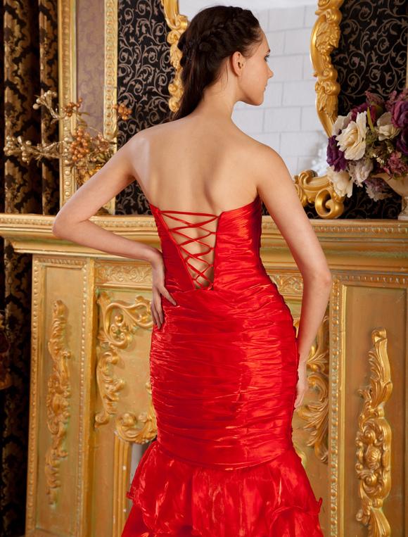 08b3c3f0d ... Vestido de noche rojo de tulle sin tirantes estilo trompeta sirena de cola  barrida-