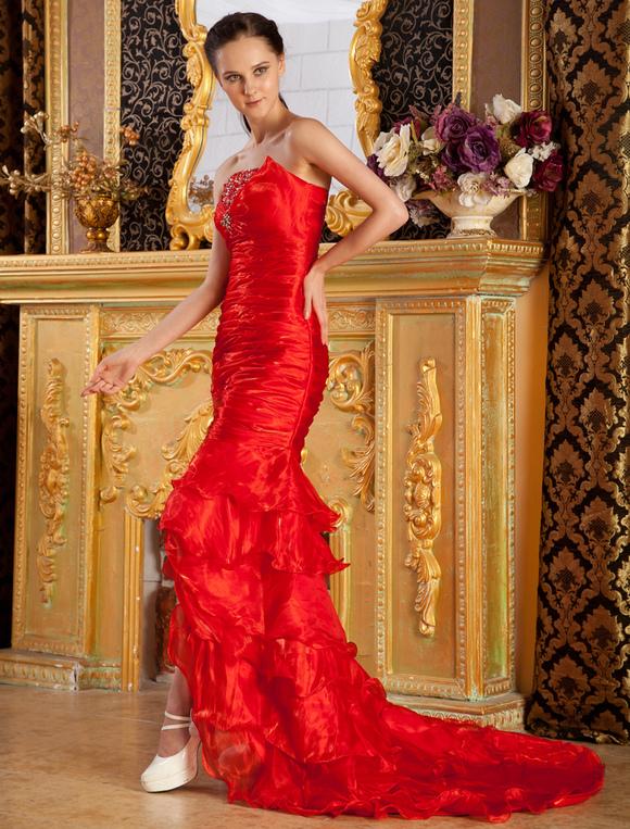 905b237cc ... Vestido de noche rojo de tulle sin tirantes estilo trompeta sirena de cola  barrida- ...