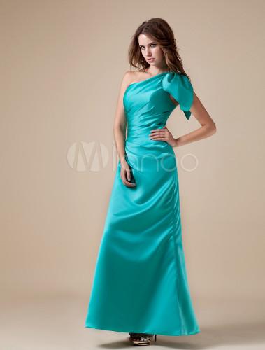 robe demoiselle d 39 honneur a ligne verte en satin une paule. Black Bedroom Furniture Sets. Home Design Ideas