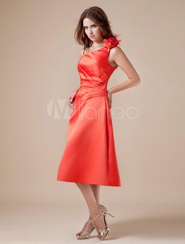 Taft Kleid für Hochzeit mit Einschulter in Orange, wadilang ...
