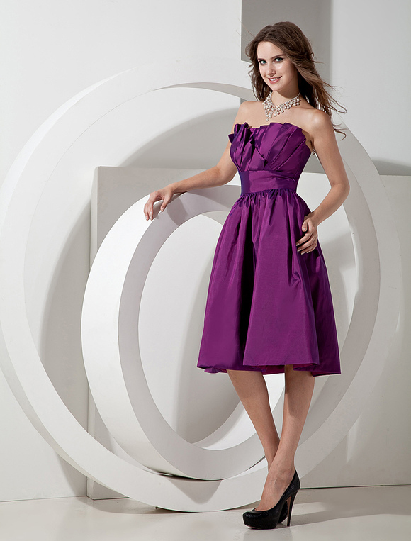 d5a4d02cff ... Vestido de damas de honor de tafetán Magenta con escote palabra de honor  sin mangas con ...