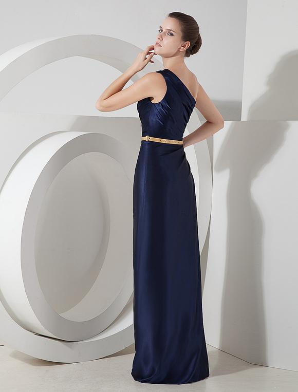 Vestido De Noche De Color Azul Marino Oscuro De Seda Elástica Con Un Solo Hombro Ajustado Hasta El Suelo