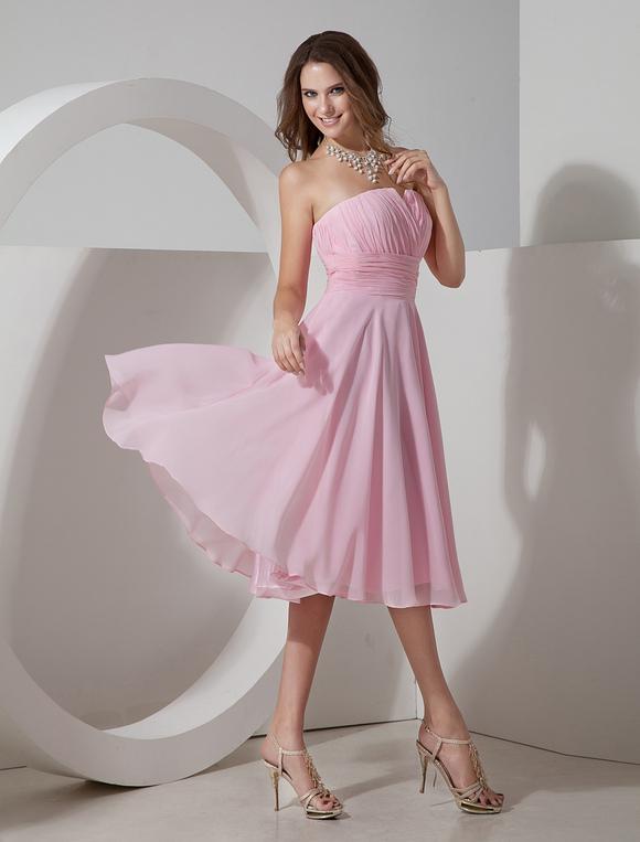 robe demoiselle d 39 honneur rose pliss e bustier. Black Bedroom Furniture Sets. Home Design Ideas