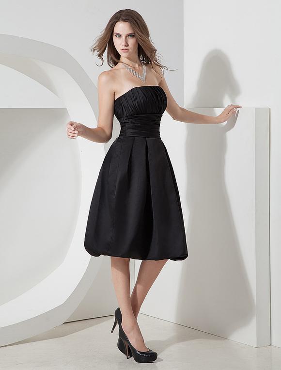 new styles 3f0b4 94621 Vestito da Cocktail nero elegante in satin a pieghe al ginocchio