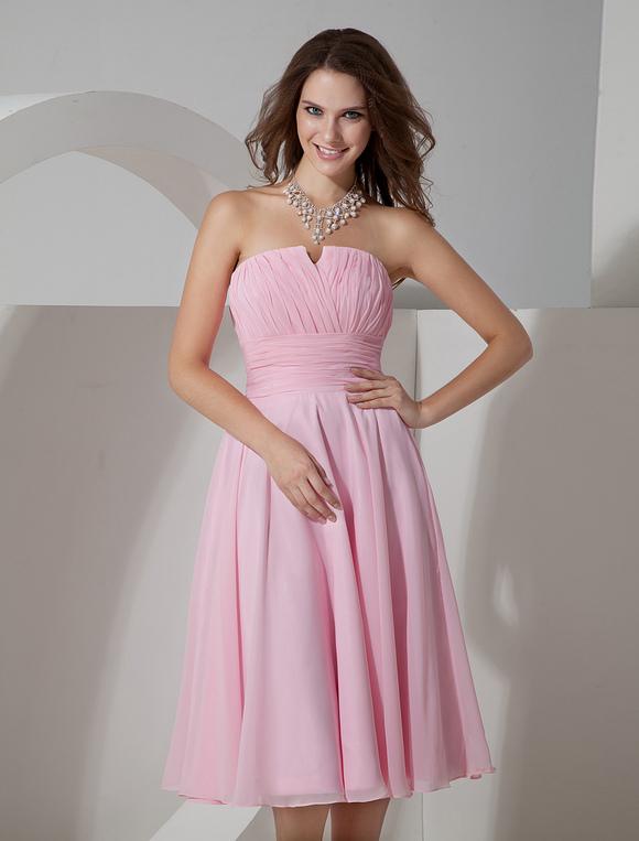 Robe demoiselle d 39 honneur rose pliss e bustier for Plus la taille robes de mariage washington dc