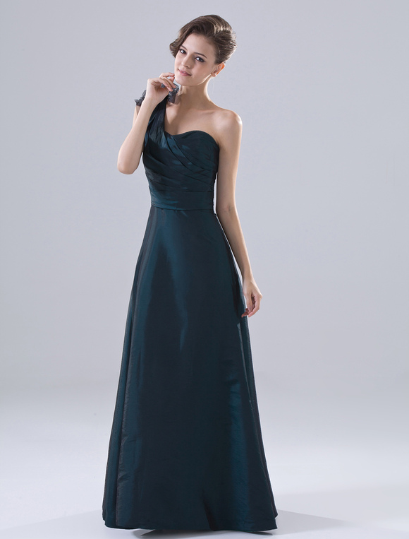 robe demoiselle d 39 honneur a ligne verte fonc e en taffetas une paule. Black Bedroom Furniture Sets. Home Design Ideas