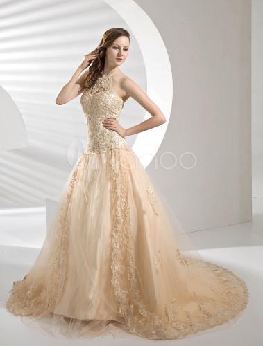 Vestido de novia de color champaña de encaje y de satén de línea A ...