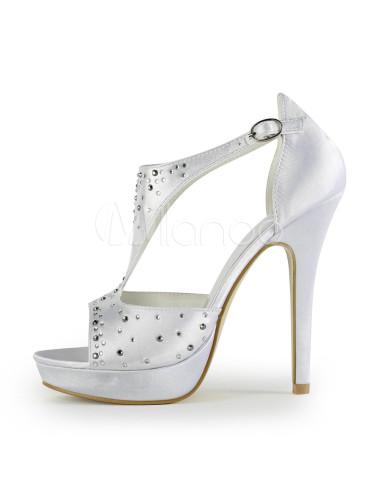 Scarpe Sposa Color Seta.Grazia Bianco Seta E Raso Strass Pu Scarpe Da Sposa Milanoo Com