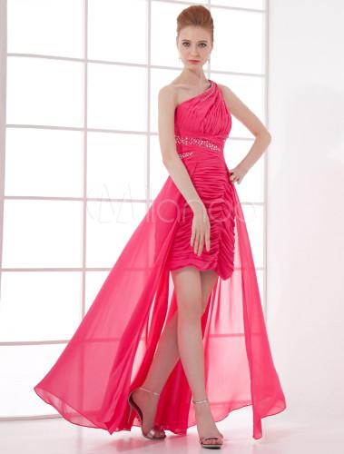 cd4dae7e4 ... vestidos de gala de chifón Rosa caliente con escote a un solo hombro  sin mangas con ...
