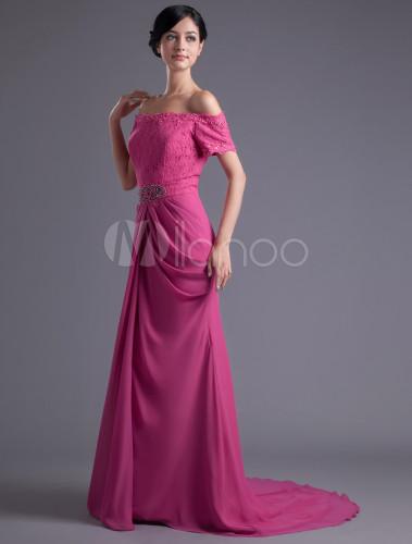 f9c1b494a0a4 ... Vestito da sera elegante con perline di pizzo in chiffon fucsia senza  spalline attillato con strascico ...