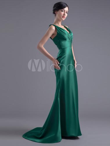 info for c4a0e 34108 Vestito da sera elegante in raso elastico verde prato con scollo a V  attillato con strascico