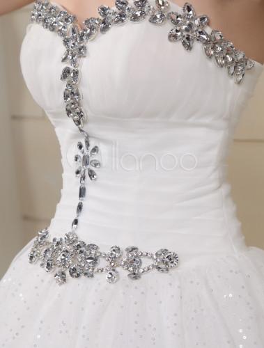 vestido de novia de tul con diamantes de imitación - milanoo