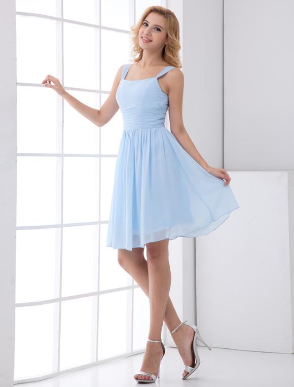 online store 13fa2 92060 Abito da Damigella d'onore di chiffon azzurro bretelle A-linea corto