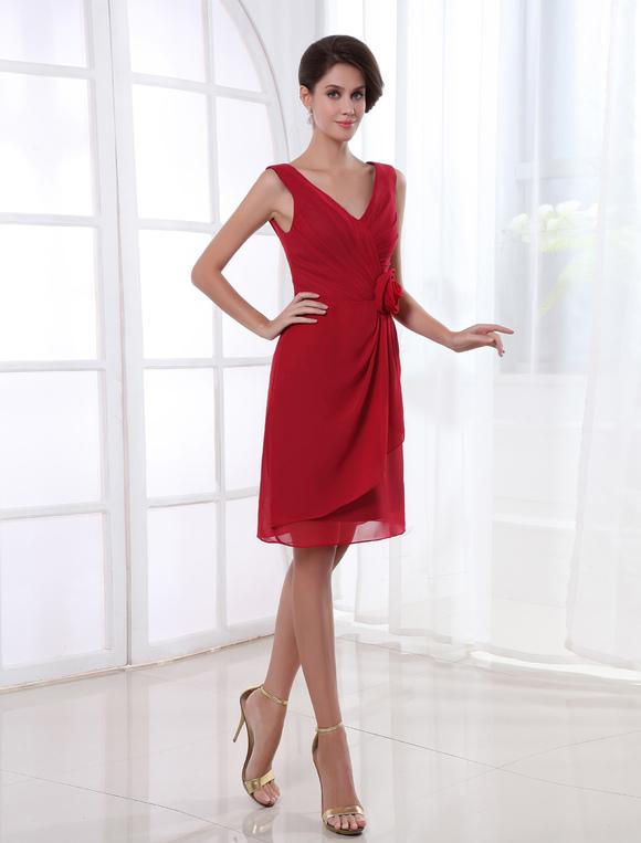robe demoiselle d 39 honneur bordeaux avec fleur de col v. Black Bedroom Furniture Sets. Home Design Ideas