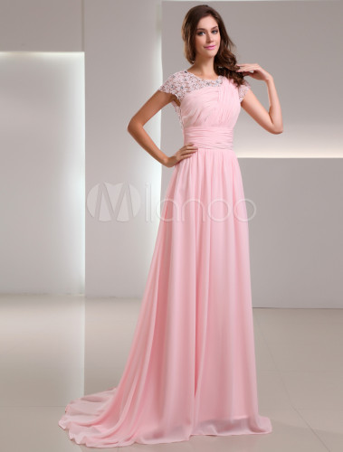 sweet pink chiffon lace jewel neck fashion evening dress. Black Bedroom Furniture Sets. Home Design Ideas
