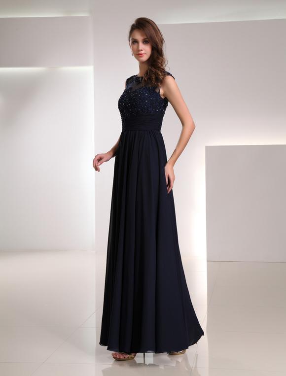 Robe de soir e 2018 robe de soir e a ligne bleue marine for Robes pour mariage en ligne