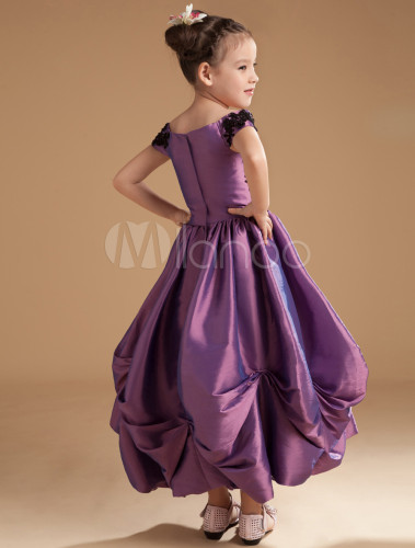 cc60561617c ... Grace Grape Purple Satin Off The Shoulder Flower Girl Dress-No.4 ...