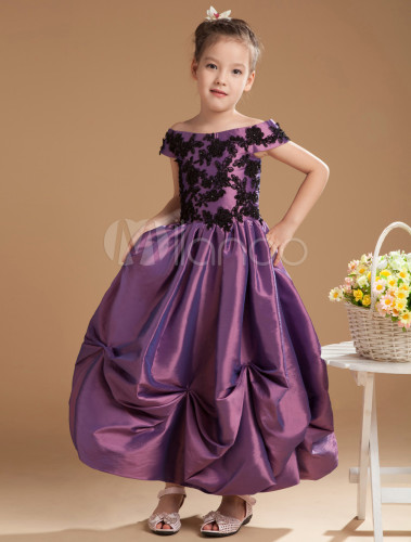 d62645a9e21 ... Grace Grape Purple Satin Off The Shoulder Flower Girl Dress-No.2 ...