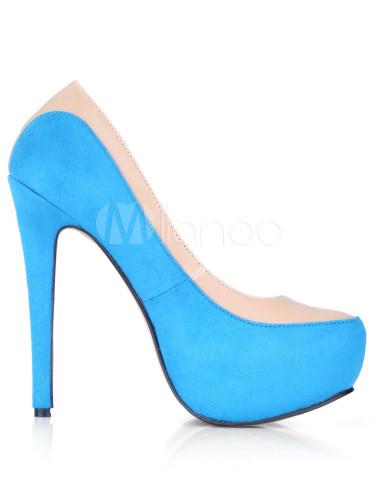 ... Printemps soleil chaussures en suédé bleu ciel à bout en forme amande-No.4  ...