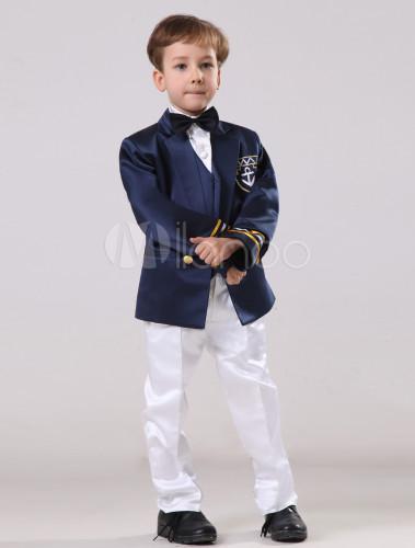 Vestidos de boda para niños de satén de color azul oscuro con ...