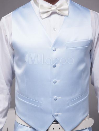 grossiste nouvelle version garantie de haute qualité Charmant bleu ciel mari gilet en satin personnalisé adapté à cérémonie