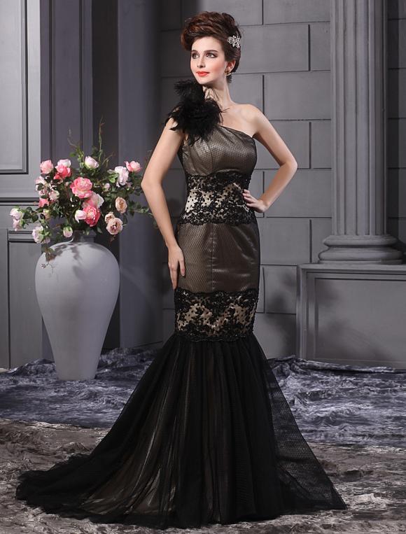 147c98e391aa ... Vestito da sera elegante lussuoso con monospalla e piume di pizzo nero  a sirena Milanoo- ...