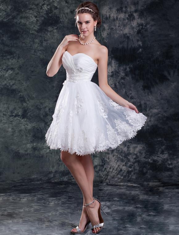 160f210d3f ... Vestido de noiva curto tomara-que-caia com decote coração em organza-No  ...