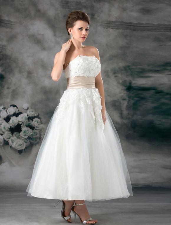 7079f9567836 ... Abito da sposa bianco tulle senza spalline a-linea alla caviglia -No.3  ...