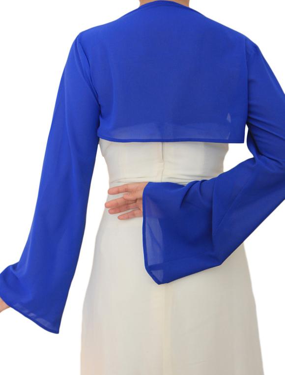 all'ingrosso online valore eccezionale Nuovi Prodotti Coprispalle per matrimonio blu in chiffon con maniche lunghe