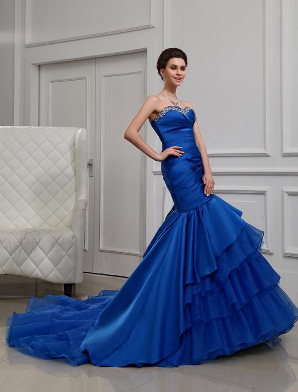 Robe de soiree bleu roi satin