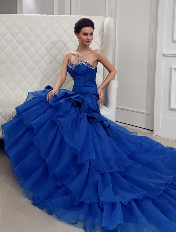 Vestiti Da Sposa Blu.Abito Da Sposa Blu Royal Satin Collo A Cuore Vestito Da Ballo