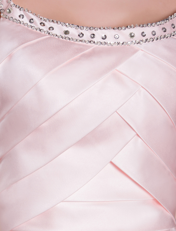 Cocktail Dresses 2019 Soft Pink Satin Sheath Pleated Tiered Beading Short Wedding Guest Dress