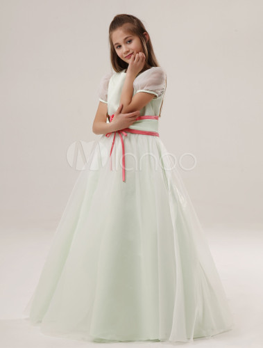 5b3f052226f Cute A-line Sage Satin Jewel Neck Flower Wedding Flower Girl Dress ...