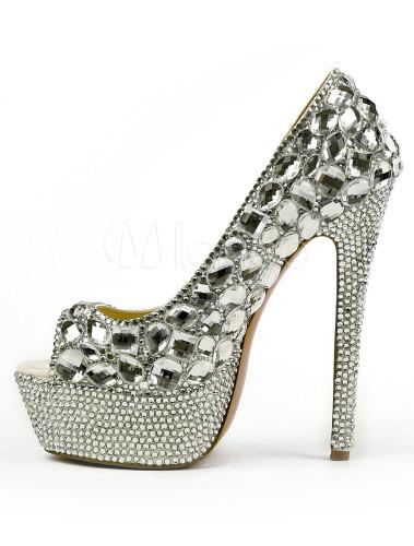 Zapatos Peep toe de color plata con diamantes de imitación dnNxWpnOx
