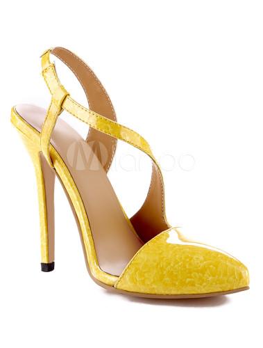 carino economico vari tipi di tecnologia avanzata Scarpe slingback gialle sexy di vernice con bretelli con tacco da 12cm