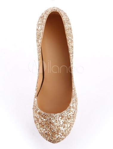 Zapatos brillantes de tacón de cuero sintético de color oro con lentejuela FRH26