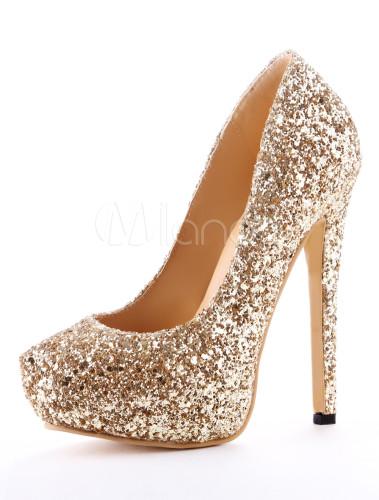 Zapatos brillantes de tacón de cuero sintético de color oro con lentejuela dOSjQPaq6