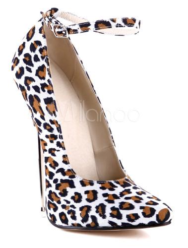 ... Chaussures blanches à bout pointu et motif léopard-No.4 ...