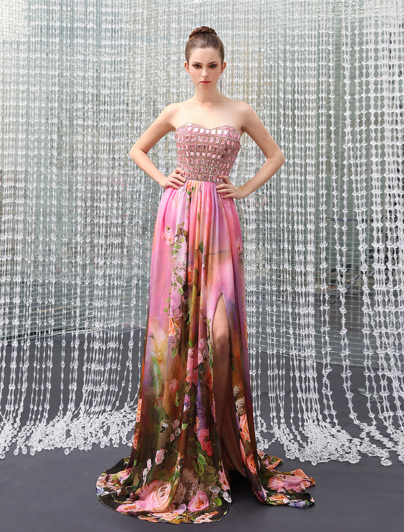 Milanoo / Long Prom Dresses 2017 African Print Prom Dress Strapless Backless Floral Print Rhinestone Split Chi