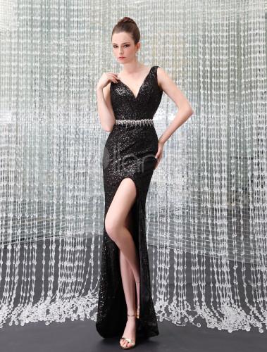 6742eb9e0aa0 ... Abbigliamento da sera elegante con paillette e lustrini nero attillato  asimmetrico Milanoo-No. ...