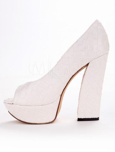De Zapatos Pu Blanco Con Tacones Plataforma Y Altos OOXpwfTq