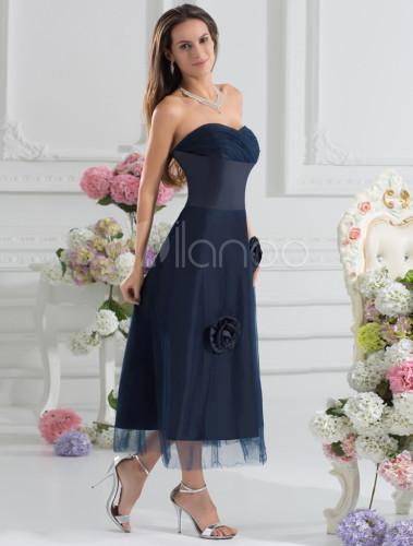 robe demoiselle d 39 honneur a ligne bleu marine fonc e en
