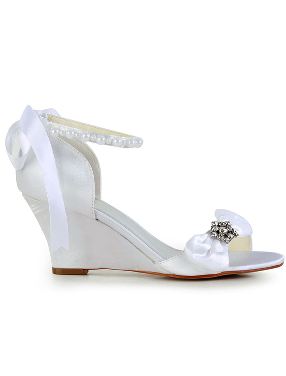 609e03c4a3486 ... Bow Rhinestone Wedge Heel Open Toe Silk And Satin Special Occasion  Shoes-No.4 ...