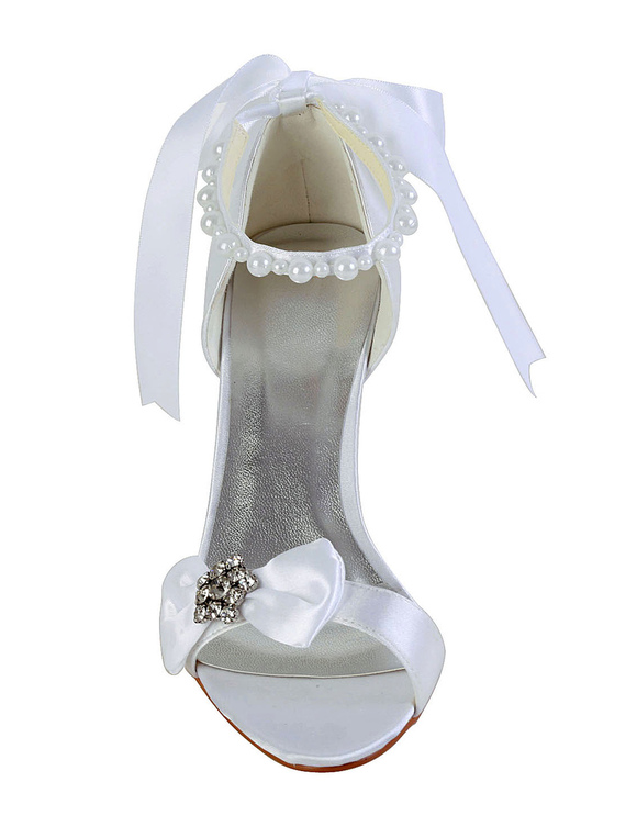 48fba279c3dd7 ... Bow Rhinestone Wedge Heel Open Toe Silk And Satin Special Occasion  Shoes-No.3 ...
