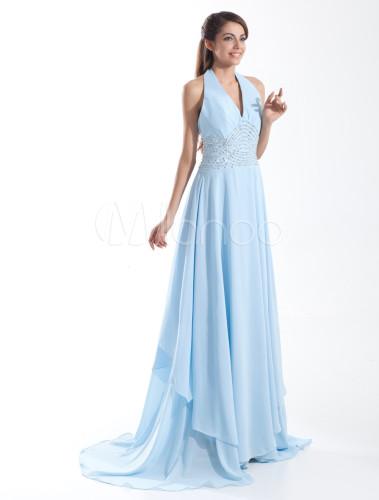 Robe longue cocktail bleu ciel